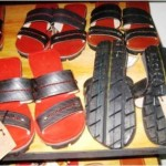 Old tyres make very strong sandals that are good for muddy and dusty areas, but have also now got an upmarket clientele in tourist shops