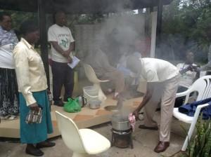 Wilimina teaching on making medicinal charcoal at Natural Medicines Training Seminar